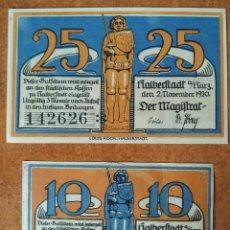 Lotes de Billetes: ALEMANIA. 2 BILLETES NOTGELD DE HALBERSTADT (SERIE COMPLETA). SIN CIRCULAR!!. Lote 222284803