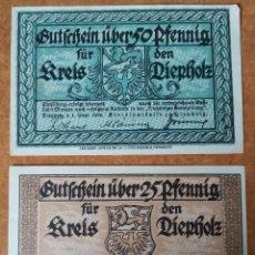 Lotes de Billetes: ALEMANIA. 2 BILLETES NOTGELD DE DIEPHOLZ. SIN CIRCULAR!!. Lote 222287831