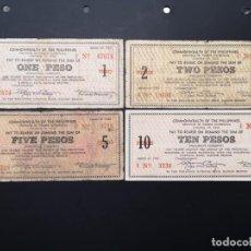 Lotes de Billetes: LOTE COLECCIÓN DE BILLETES COMMONWEALH DE FILIPINAS DE 1 2 5 10 PESOS, AÑO 1942. Lote 223892587
