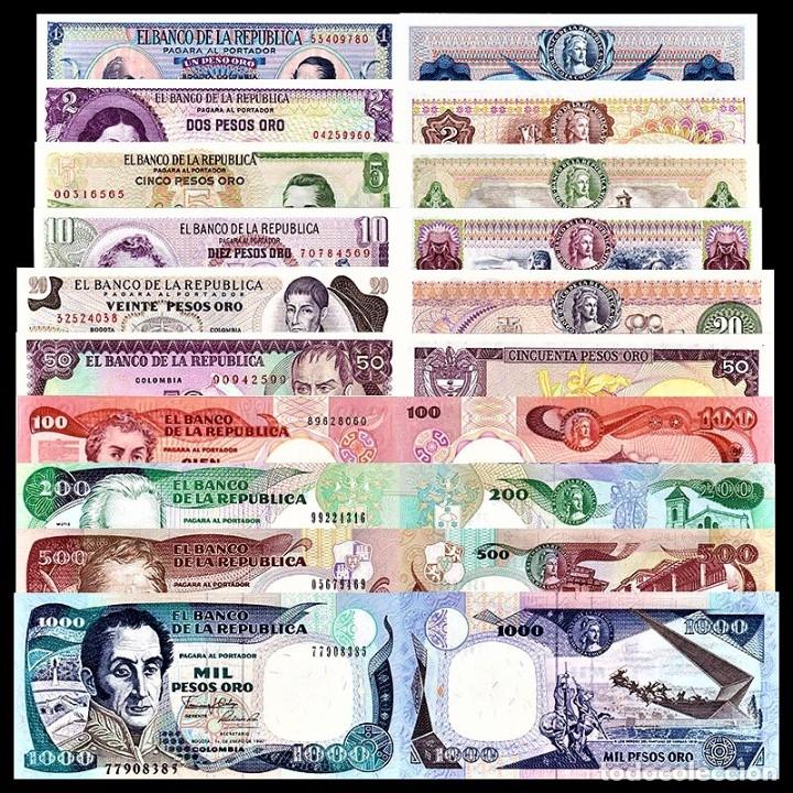 Lotes de Billetes: COLECCION SET 10 BILLETES COLOMBIA 1-2-5-10-20-50-100-200-500-1000 PESOS UNC AUTENTICOS - Foto 2 - 225243863