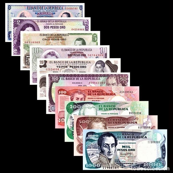 COLECCION SET 10 BILLETES COLOMBIA 1-2-5-10-20-50-100-200-500-1000 PESOS UNC AUTENTICOS (Numismática - Notafilia - Series y Lotes)