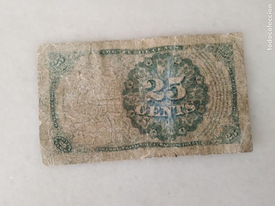 Lotes de Billetes: BILLETE USA 1874 ROBERT WALKER 25 CENTAVOS. - Foto 2 - 228137915