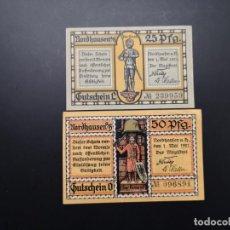 Lotes de Billetes: LOTE COLECCIÓN 2 VARIANTES NOTGELD PROVINCIA PRUSIA SAXONY NORDHAUSEN 1921 UNC. Lote 233638560