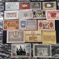 Lotes de Billetes: LOTE DE 16 BILLETES DE NOTGELD DE PRUSIA Y ALEMANIA SIN CIRCULAR. Lote 234657205