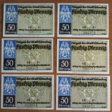 Lotes de Billetes: ALEMANIA. 6 BILLETES NOTGELD STADT SCHNEEBERG (SERIE COMPLETA). SIN CIRCULAR!!!. Lote 236032295