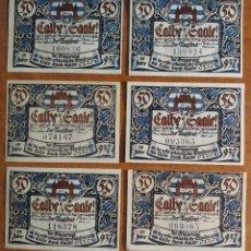 Lotes de Billetes: ALEMANIA. 6 BILLETES NOTGELD STADT CALBE AD SAALE (SERIE COMPLETA). SIN CIRCULAR!!!. Lote 236033450