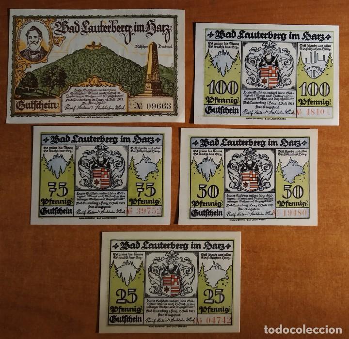 ALEMANIA. 5 BILLETES NOTGELD STADT BAD LAUTERBERG (SERIE COMPLETA). SIN CIRCULAR!!! (Numismática - Notafilia - Series y Lotes)