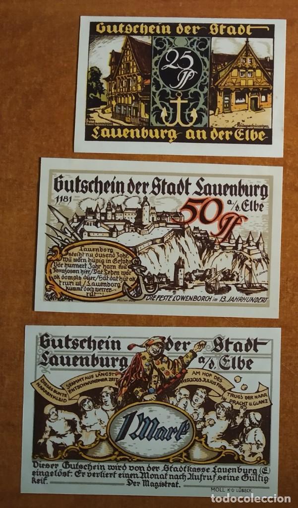 Lotes de Billetes: ALEMANIA. 3 BILLETES NOTGELD STADT LAUENBURG AD ELBE (SERIE COMPLETA). SIN CIRCULAR!!! - Foto 2 - 236036465