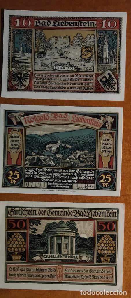 ALEMANIA. 3 BILLETES NOTGELD STADT BAD LIEBENSTEIN (SERIE COMPLETA). SIN CIRCULAR!!! (Numismática - Notafilia - Series y Lotes)