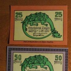 Lotes de Billetes: ALEMANIA. 3 BILLETES NOTGELD STADT LANGENALTHEIM (SERIE COMPLETA). SIN CIRCULAR!!!. Lote 236039480