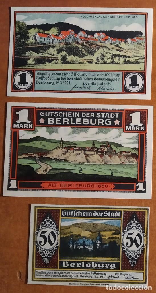 ALEMANIA. 3 BILLETES NOTGELD STADT BERLEBURG (SERIE COMPLETA). SIN CIRCULAR!!! (Numismática - Notafilia - Series y Lotes)