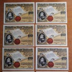 Lotes de Billetes: ALEMANIA. 8 BILLETES NOTGELD STADT BUTZBACH (SERIE COMPLETA). SIN CIRCULAR!!!. Lote 236043850
