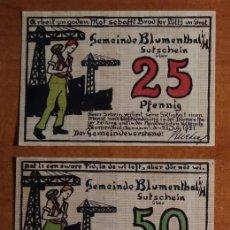 Lotes de Billetes: ALEMANIA. 3 BILLETES NOTGELD STADT BLUMENTHAL (SERIE COMPLETA). SIN CIRCULAR!!!. Lote 236046905