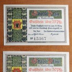 Lotes de Billetes: ALEMANIA. 3 BILLETES NOTGELD STADT PLAU (SERIE COMPLETA). SIN CIRCULAR!!!. Lote 236047045