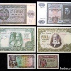 Lotes de Billetes: LOTE DE 6 BILLETES ESPAÑOLES FACSÍMILES. PESETA. CONSERVACIÓN PLANCHA (1). Lote 236902750