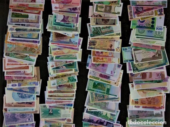 GRAN LOTE 150 BILLETES DEL MUNDO GENUINOS DE CURSO LEGAL CALIDAD UNC TODOS DIFERENTES (Numismática - Notafilia - Series y Lotes)