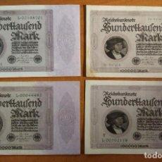 Lotes de Billetes: ALEMANIA. SERIE4 BILLETES 100000 MARK 1923 (TODAS LAS VARIANTES). Lote 242411145