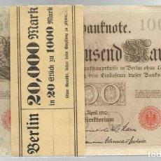 Lotes de Billetes: LOTE DE 32 BILLETES DE 1000 MARCOS ALEMANIA, BERLIN 1910, (18 CORRELTIVOS + 6 + 4 + 2 + 2) NUEVOS,. Lote 243345195
