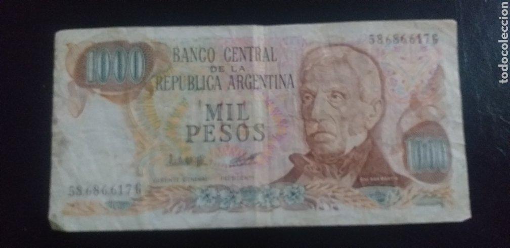 BILLETE REPUBLICA DE ARGENTINA 1000 PESOS (Numismática - Notafilia - Series y Lotes)