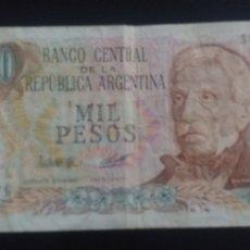 Lotes de Billetes: BILLETE REPUBLICA DE ARGENTINA 1000 PESOS. Lote 245637685
