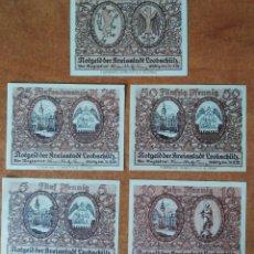 Lotti di Banconote: ALEMANIA. 5 BILLETES NOTGELD STADT LEOBSCHÜTZ (SERIE COMPLETA). SIN CIRCULAR!!!. Lote 247355765