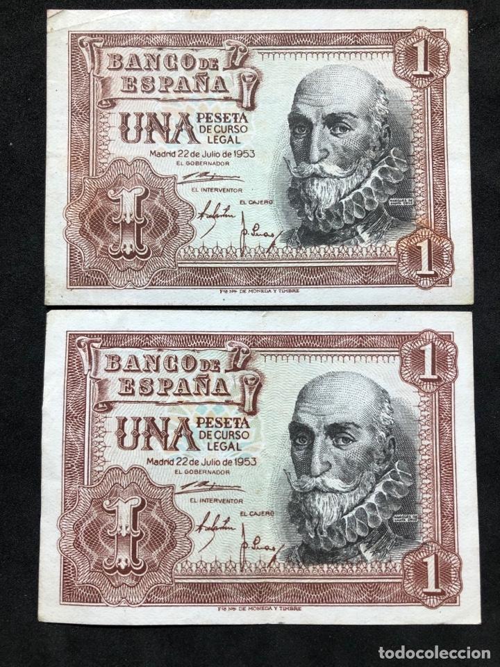 Lotes de Billetes: Pareja de billetes de 1 peseta de 1953 -Series C y F- EBC - Foto 3 - 249557600