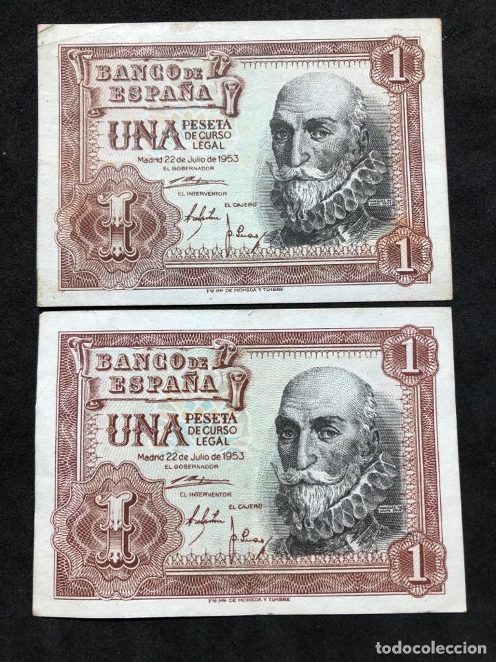 PAREJA DE BILLETES DE 1 PESETA DE 1953 -SERIES C Y F- EBC (Numismática - Notafilia - Series y Lotes)