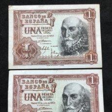 Lotes de Billetes: PAREJA DE BILLETES DE 1 PESETA DE 1953 -SERIES C Y F- EBC. Lote 249557600