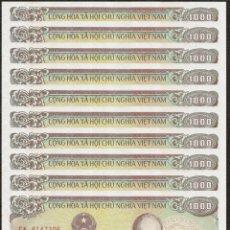 Lots de Billets: LOTE DE 10 BILLETES 1000 DONG VIETNAM 1988 SIN CIRCULAR BANKNOTES SET. Lote 246544305