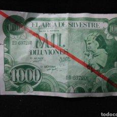 Lotes de Billetes: BILLETE DE HUMOR ,1000 DILUVIONES PUBLICIDAD OBRA TEATRAL AÑOS 70. Lote 253348680