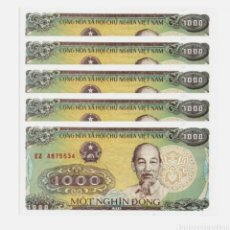 Lotes de Billetes: LOTE 5 BILLETES 1000 DONG VIETNAM 1988 BANKNOTES SET LOT SIN CIRCULAR - ENVÍO GRATIS A ESPAÑA. Lote 253991010