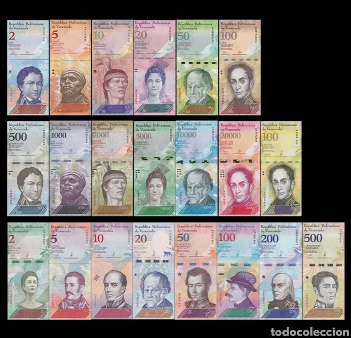 LOTE 21 BILLETES VENEZUELA 2007-2018 SIN CIRCULARFULL SET 21 PCS BOLIVARES UNC BANKNOTES (Numismática - Notafilia - Series y Lotes)