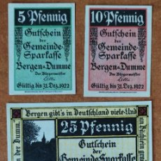 Lotes de Billetes: ALEMANIA. 4 BILLETES NOTGELD STADT BERGEN AD DUMME (SERIE COMPLETA). SIN CIRCULAR!!!. Lote 262244570