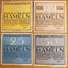 Lotes de Billetes: ALEMANIA. 4 BILLETES NOTGELD STADT HAMLN (SERIE COMPLETA). SIN CIRCULAR!!!. Lote 262245480