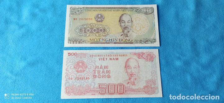 LOTE DOS BILLETES VIETNAM 1000 Y 500 DONG 1997 Y 1988 UNC 1 (Numismática - Notafilia - Series y Lotes)