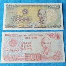 Lotes de Billetes: LOTE DOS BILLETES VIETNAM 1000 Y 500 DONG 1997 Y 1988 UNC 1. Lote 265200179