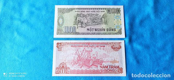 Lotes de Billetes: Lote dos billetes VietNam 1000 y 500 Dong 1997 y 1988 UNC 1 - Foto 2 - 265200179