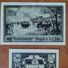 Lotti di Banconote: ALEMANIA. 2 BILLETES NOTGELD STADT BELGERN A. ELBE (SERIE COMPLETA). SIN CIRCULAR!!!. Lote 265565094
