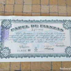 Lotes de Billetes: BLOQUE DE 15 BILLETES PAPEL DE FINANZAS 100 PESETAS AÑO 1954 CLASE B CON SELLOS Y SERIES CONSECUTIVA. Lote 265572259