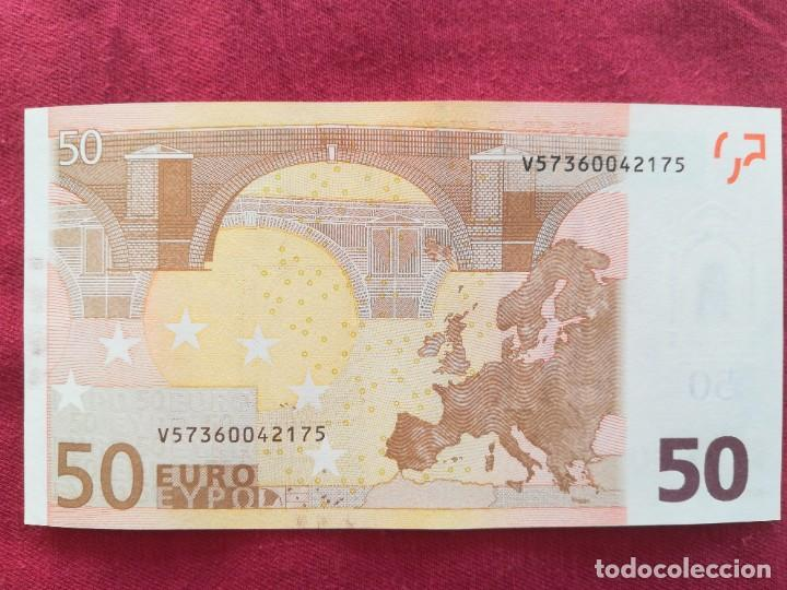 Lotes de Billetes: Billete 50 euro 2002 s/c letra V - España firma Dragi - Foto 2 - 266121243