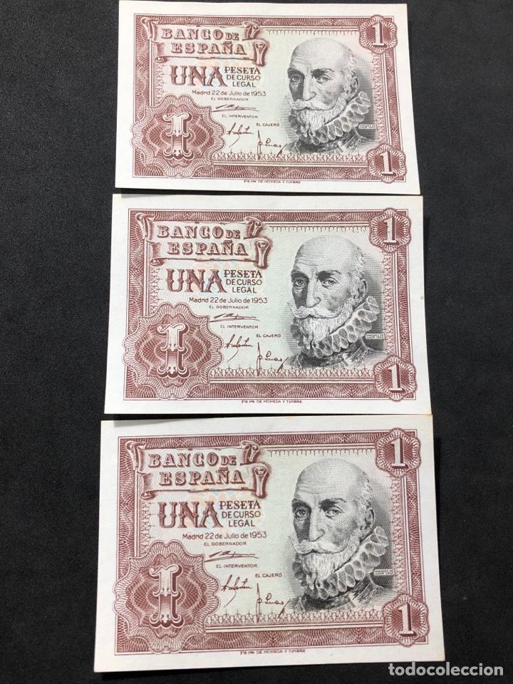 Lotes de Billetes: Trío correlativo de billetes de 1 peseta de 1953. Sin circular. - Foto 3 - 267149514
