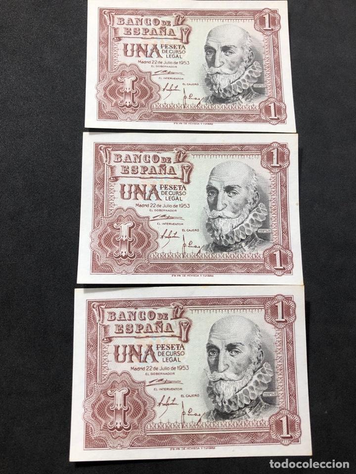 TRÍO CORRELATIVO DE BILLETES DE 1 PESETA DE 1953. SIN CIRCULAR. (Numismática - Notafilia - Series y Lotes)