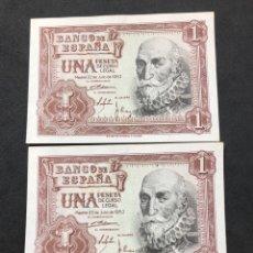 Lots de Billets: DÚO CORRELATIVO DE BILLETES DE 1 PESETA DE 1953. SIN CIRCULAR.. Lote 267149944