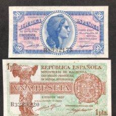 Lotes de Notas: PAREJA DE BILLETES DE 50 CÉNTIMOS Y 1 PESETA DE 1937. REPUBLICA ESPAÑOLA.. Lote 267200389