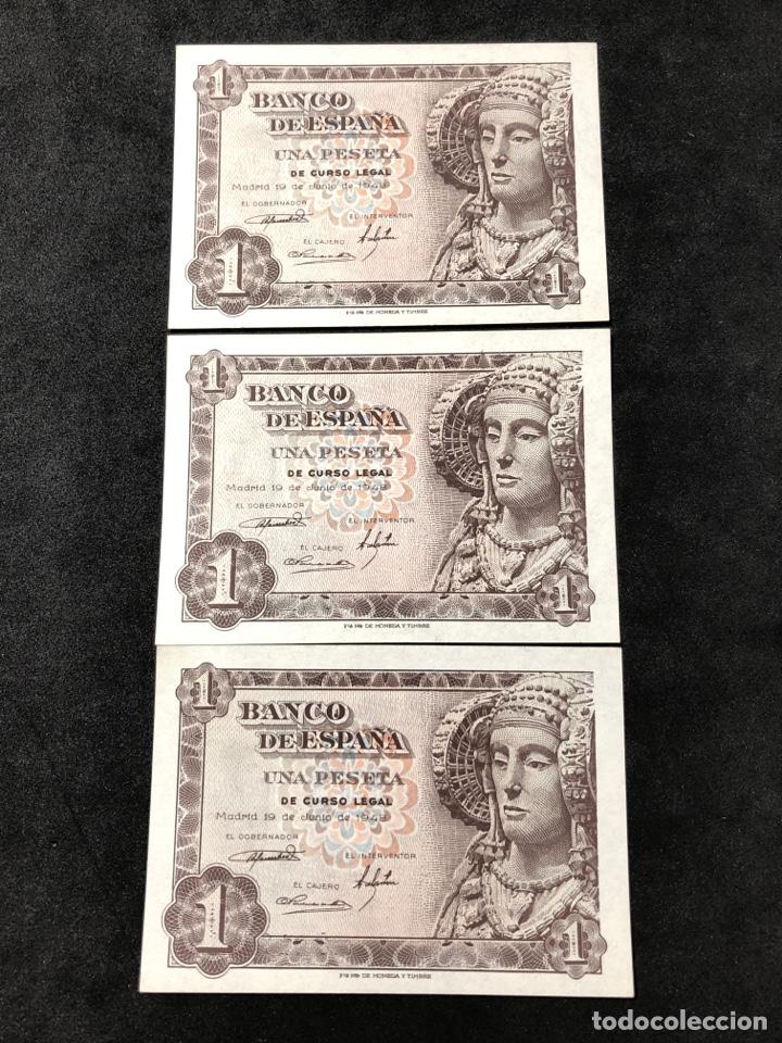 Lotes de Billetes: Trío correlativo de billetes de 1 peseta de 1948. Sin circular. Serie G. - Foto 3 - 267239799