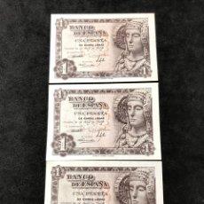 Lotes de Billetes: TRÍO CORRELATIVO DE BILLETES DE 1 PESETA DE 1948. SIN CIRCULAR. SERIE G.. Lote 267239799