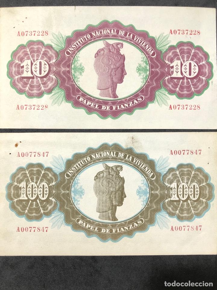 Lotes de Billetes: Original Papel de Fianzas. 2 billetes de 10 pesetas y 100 pesetas. - Foto 2 - 267241639