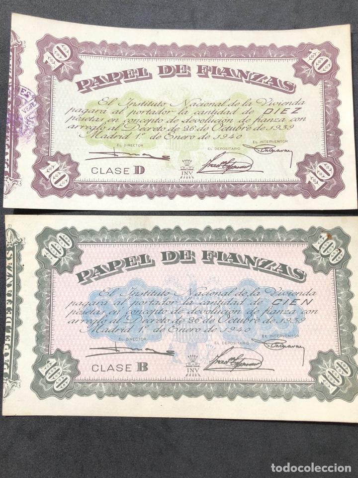Lotes de Billetes: Original Papel de Fianzas. 2 billetes de 10 pesetas y 100 pesetas. - Foto 3 - 267241639