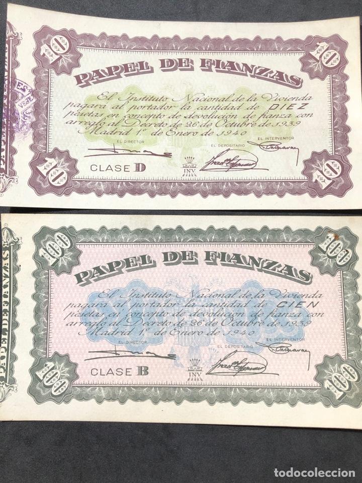 ORIGINAL PAPEL DE FIANZAS. 2 BILLETES DE 10 PESETAS Y 100 PESETAS. (Numismática - Notafilia - Series y Lotes)