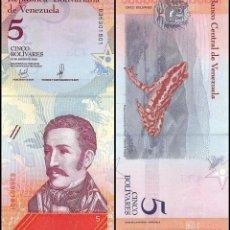 Lotes de Billetes: LOTE 5 BILLETES 5 BOLIVARES SOBERANOS VENEZUELA 2018 SIN CIRCULAR. Lote 270142588